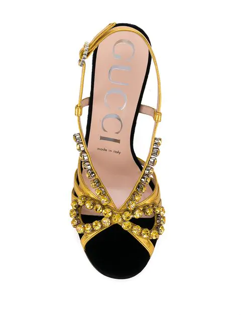 Gucci Crystal-Embellished Metallic Leather Sandals In Gold
