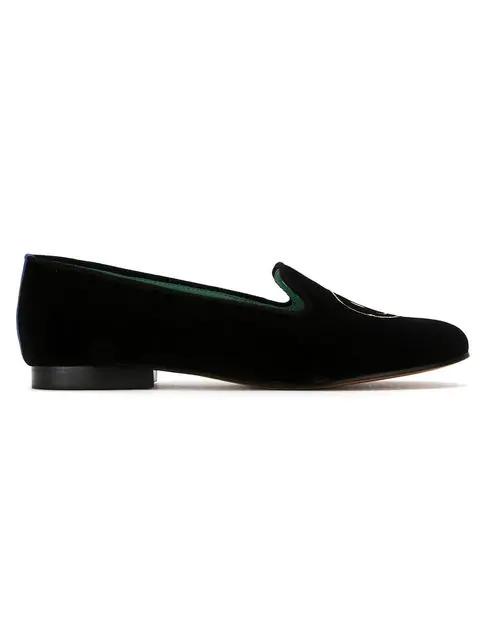 ff06349f6f249 Blue Bird Shoes Embroidered Velvet Smile Loafers - Black | ModeSens