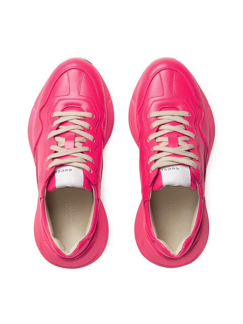 Gucci Men's Rhyton Fluorescent Leather Sneakers In Pink