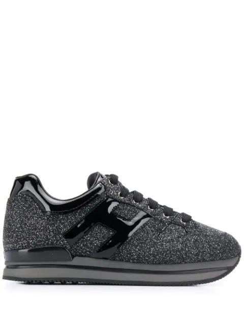 Hogan H222 Glitter Logo Sneakers In Black   ModeSens