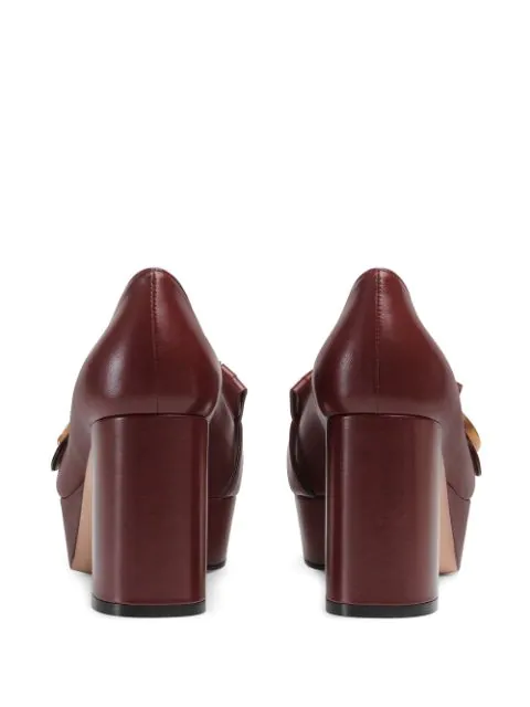 Gucci Marmont Fringed Logo-Embellished Leather Platform Pumps In Red