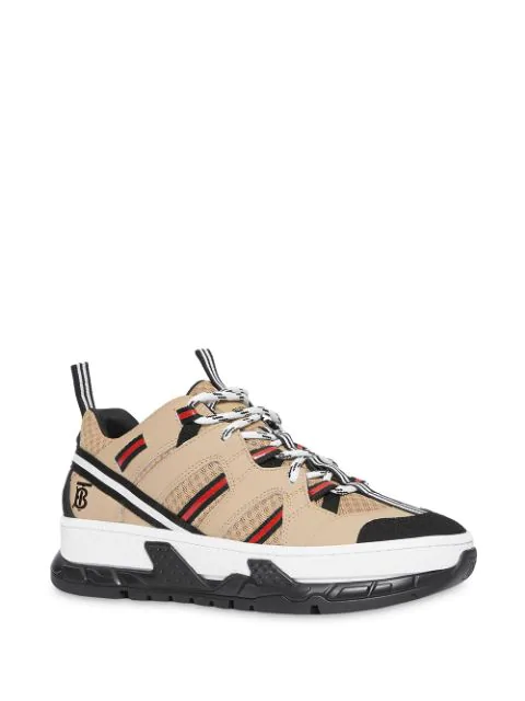 Burberry Men's Union Icon Stripe Mesh & Leather Sneakers In Neutrals