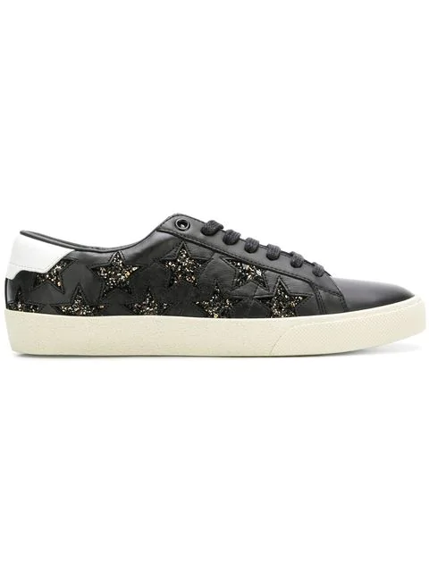 Saint Laurent Low-Top Sneakers Moon Plus  Smooth Leather Glitter Logo Black