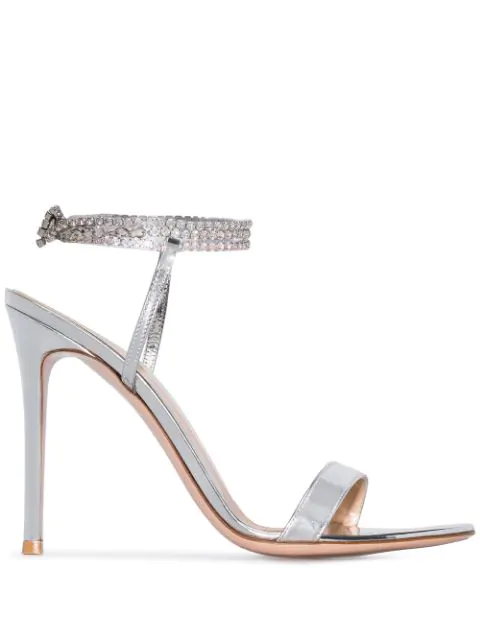 Tennis 105 Crystal Embellished Metallic Patent Leather Sandals in Silver