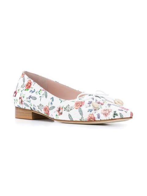 Leandra Medine Floral Print Ballerinas - White