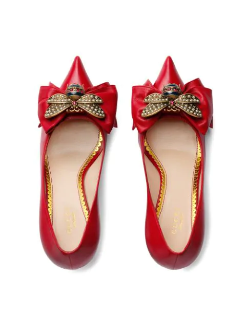 Gucci Leather Mid-Heel Pump With Bow In 6433 Hibiscus Red
