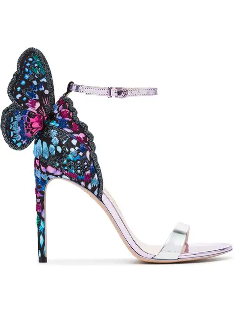 be2c2a4106029 Sophia Webster Chiara Embroidered Satin And Metallic Leather Sandals In Blue