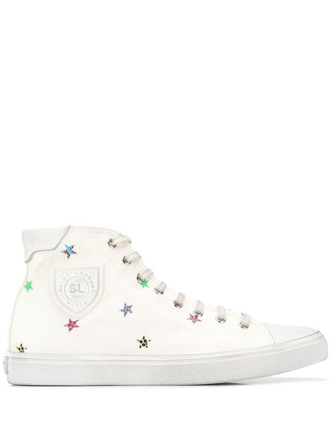 Saint Laurent Bedford Sneakers In Fun Star Print Canvas In White