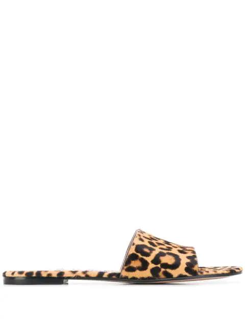Gianvito Rossi Leopard-Print Calf Hair Slide Sandals In Leopard Print