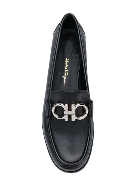 19fdbbb4ff855 Salvatore Ferragamo Women's Leather Loafers Moccasins Gancini Gare In Black