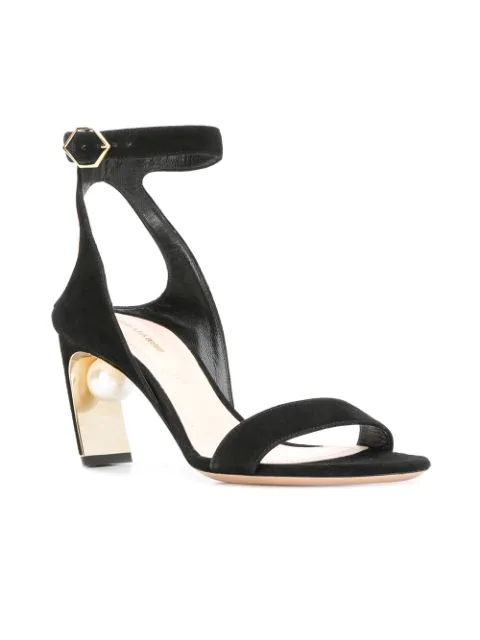 Suede Lola Sandals Pearl Black Embellished In nOX8P0kw