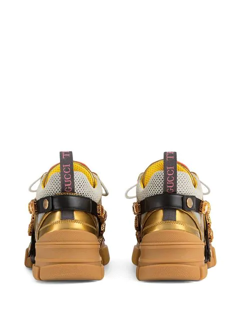 GUCCI FLASHTREK LEATHER SNEAKER WITH CRYSTALS