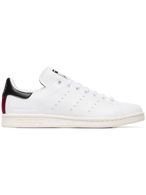 new product 4fce5 4dff1 Adidas Originals Stan Smith Grosgrain-Trimmed Faux Leather Sneakers in White