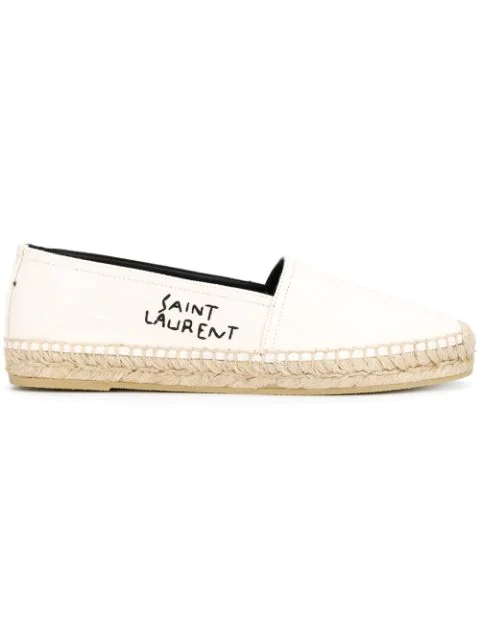 Saint Laurent Logo-Embroidered Leather-Trimmed Canvas Espadrilles In White