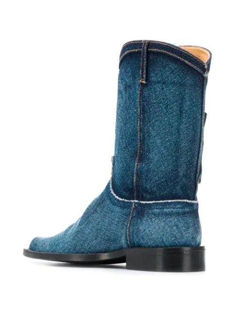 45ced0edca0 Martine Rose Denim Cowboy Boots - Blue