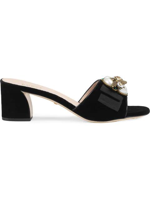 Gucci Embellished Leather Slide Sandals In 1059 Nero