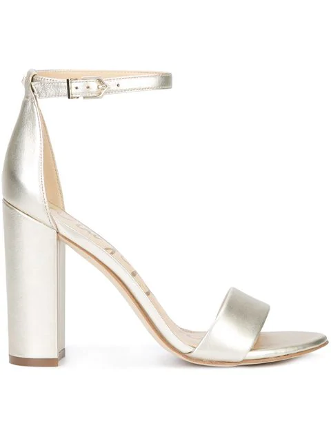 9f52b0e9f62 Yaro Ankle Strap Block Heel Sandals in Metallic