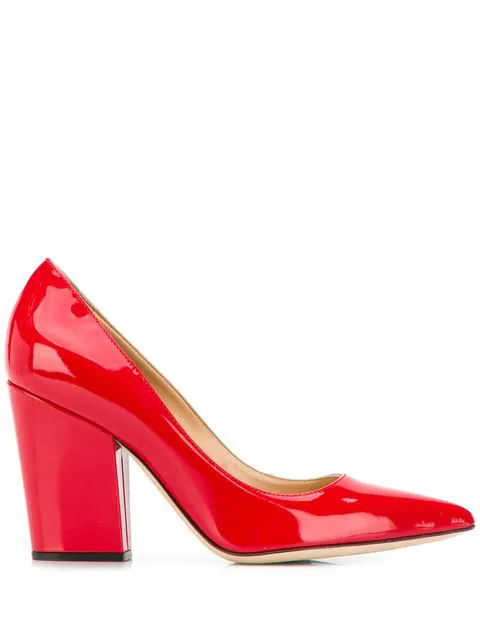820433ae281 Sergio Rossi Block Heel Pumps - Red