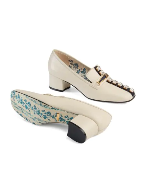 Gucci Women's Ginger Embellished Leather Loafer Pumps In White