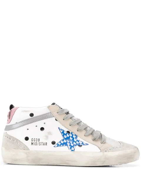 63e9fde780c6 Mid Star Dot Leather/Suede Wing-Tip Sneakers in White