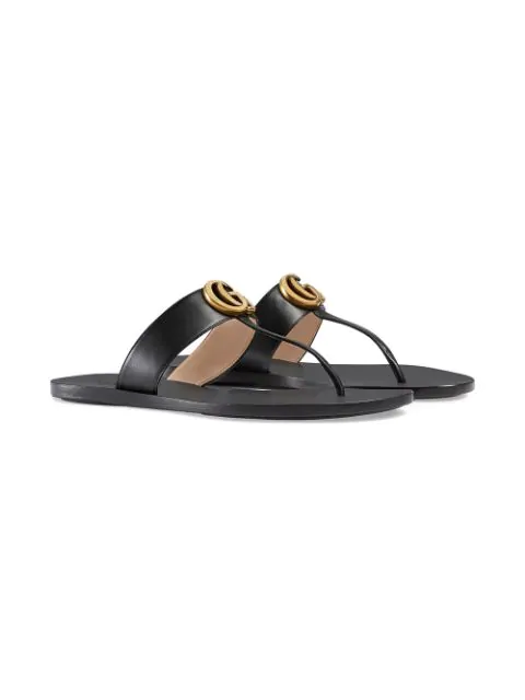 GUCCI BLACK DOUBLE G LEATHER THONG SANDALS,497444A3N0012937638