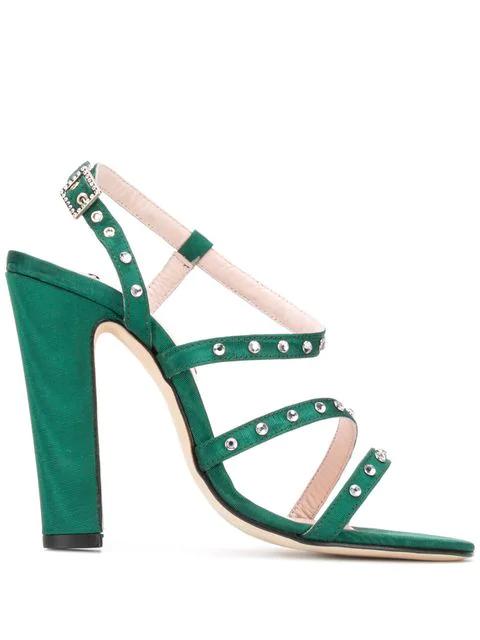 Leandra Medine Studded High-Heeled Sandals - Green