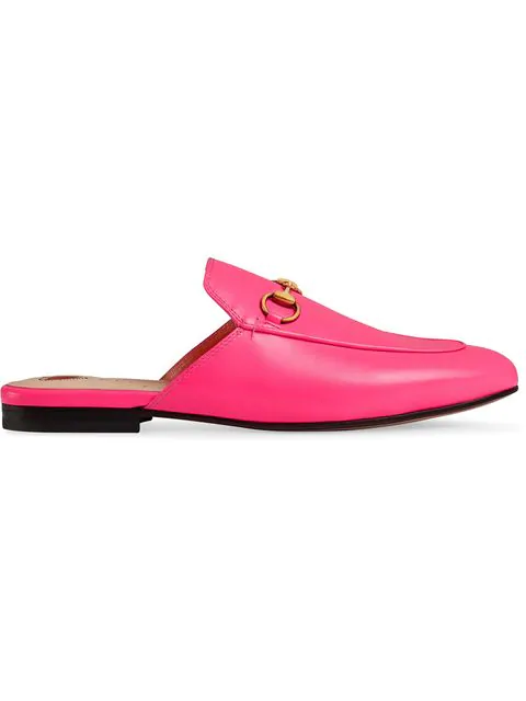 Gucci Princetown Fluorescent-Leather Slippers In Pink