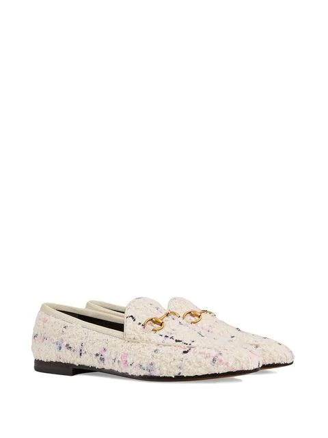 Gucci Jordaan Horsebit-Detailed Leather-Trimmed BouclÉ-Tweed Loafers In White