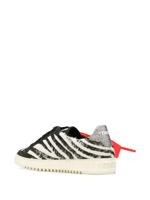 Off-White Low-Top Zebra Arrow Leather Sneakers In Black
