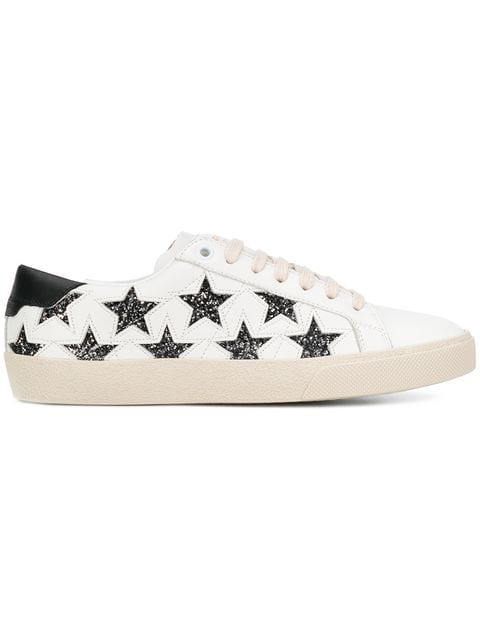 Saint Laurent Court Classic Cutout Star Leather Trainers In White