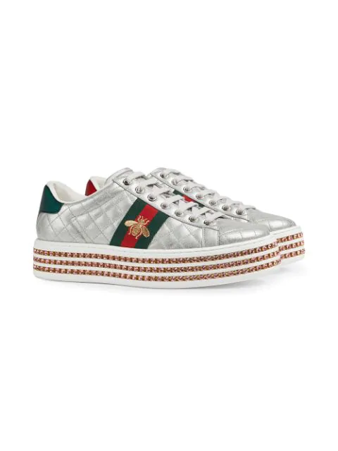 Gucci Quilted Crystal-Platform Sneakers In Silver
