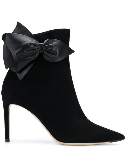 8030dcd7a757d Jimmy Choo Kassidy 85 Black Suede Ankle Booties With Black Nappa Leather Bow