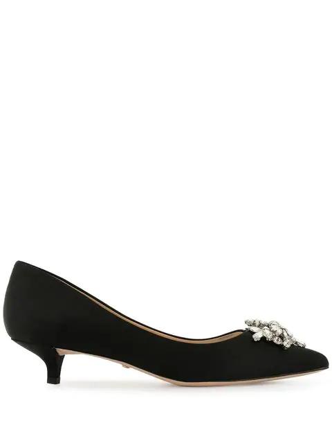 1093dae18bf Women's Vail Pointed Toe Satin Kitten Heel Pumps in Black