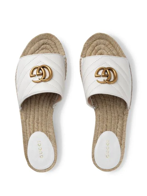 Gucci Gg Quilted-Leather Espadrille Slides In White