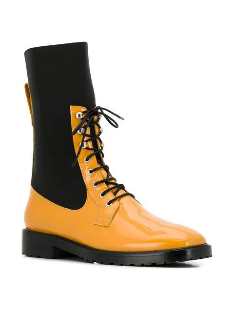Leandra Medine Contrast Panels Boots - Black