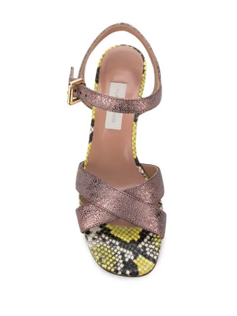 742fc6db4c8 L'Autre Chose Snake Skin Patterned Sandals - Yellow