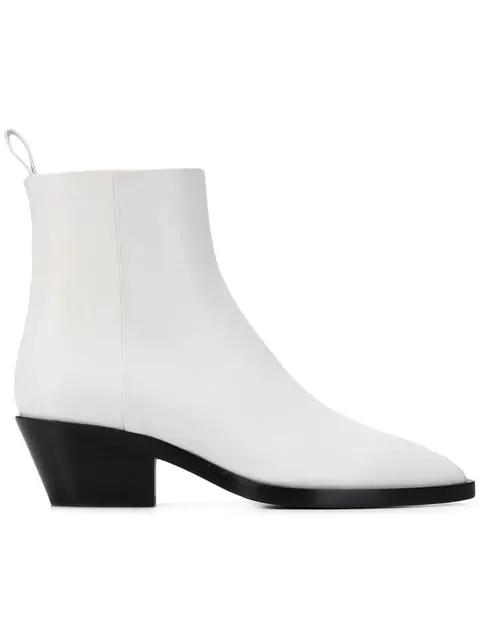 size 40 f005e 0aa4a Jil Sander Stiefeletten Mit Reißverschluss - Weiß in White