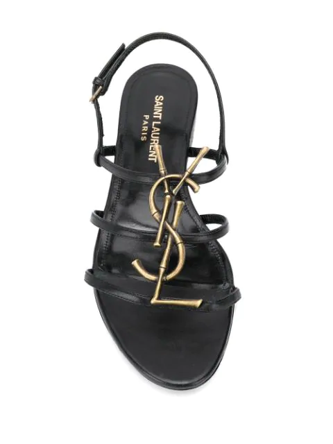 Saint Laurent Cassandra Open Sandals In Smooth Leather With Gold-Toned Bamboo Logo In Black