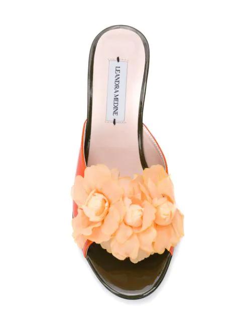 Leandra Medine Floret Mules - Orange In Floret Mule - Flowers
