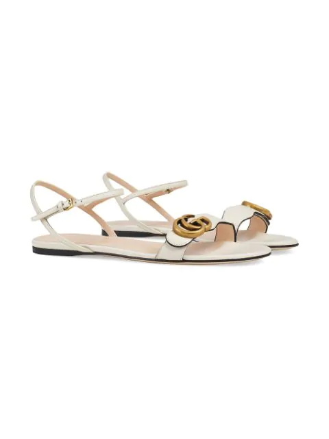 Gucci Marmont Logo-Embellished Leather Sandals In White
