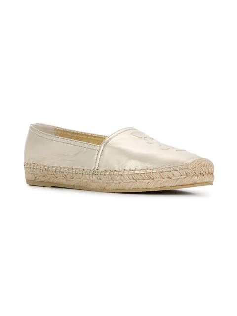 Saint Laurent Logo-Embossed Metallic Leather Espadrilles In Neutrals