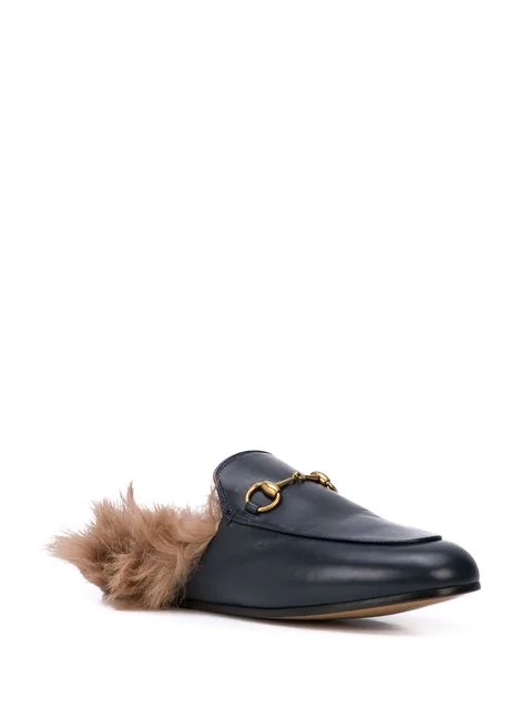 Gucci Slip On Shoes Dkhh0 Lamb Fur Smooth Leather Horsebit-Detail Black In 1063 Nero/Natural
