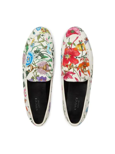Gucci Loafers 9Zif0  Canvas Flower Pattern Horsebit-Detail White