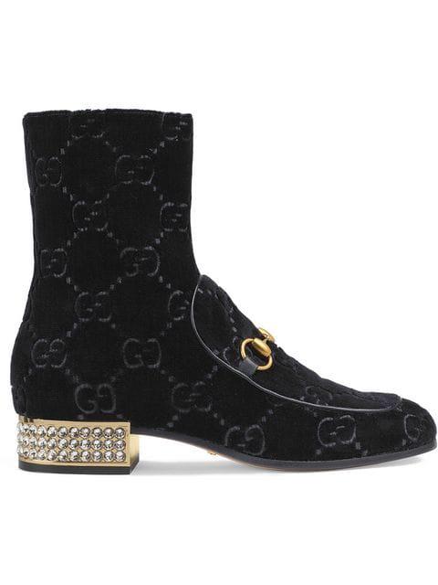 Gucci Horsebit Gg Crystal-Embellished Velvet Ankle Boots In Black