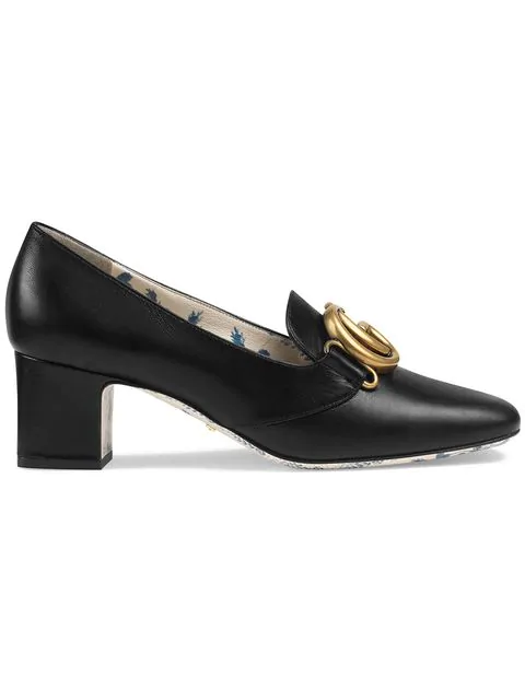 946f5673 Gucci Patent Leather Mid-Heel Pump With Double G In Black | ModeSens