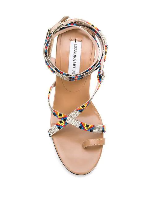 Leandra Medine Aztec Strappy Sandals - Neutrals