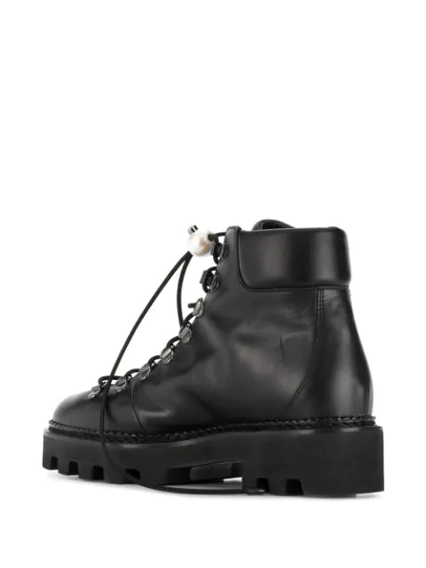 fc8e5e76013 Nicholas Kirkwood - Delfi Faux Pearl Toggle Leather Hiking Boots - Womens -  Black in N99 Black