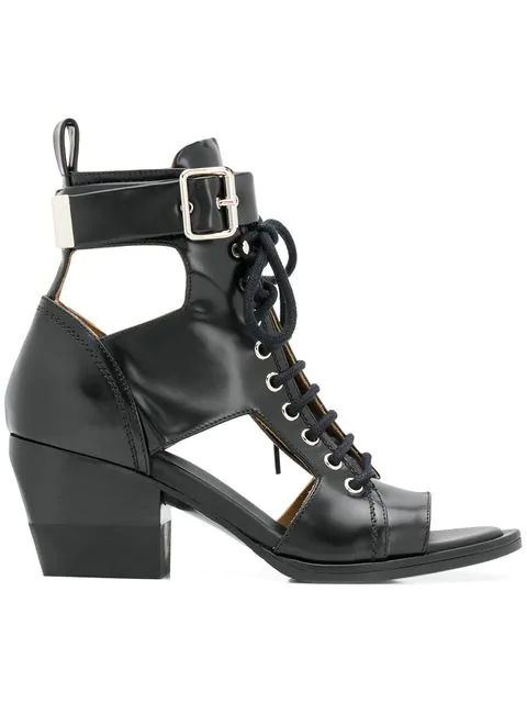 95652eb78ad58 ChloÉ Women's Rylee Leather Open-Toe Lace Up Booties In 001 Black ...