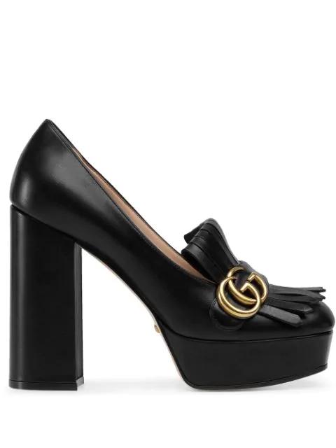 Gucci Leather Platform Pump With Fringes In Black