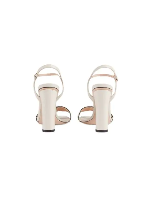 Gucci Marmont Logo-Embellished Leather Sandals In Neutrals